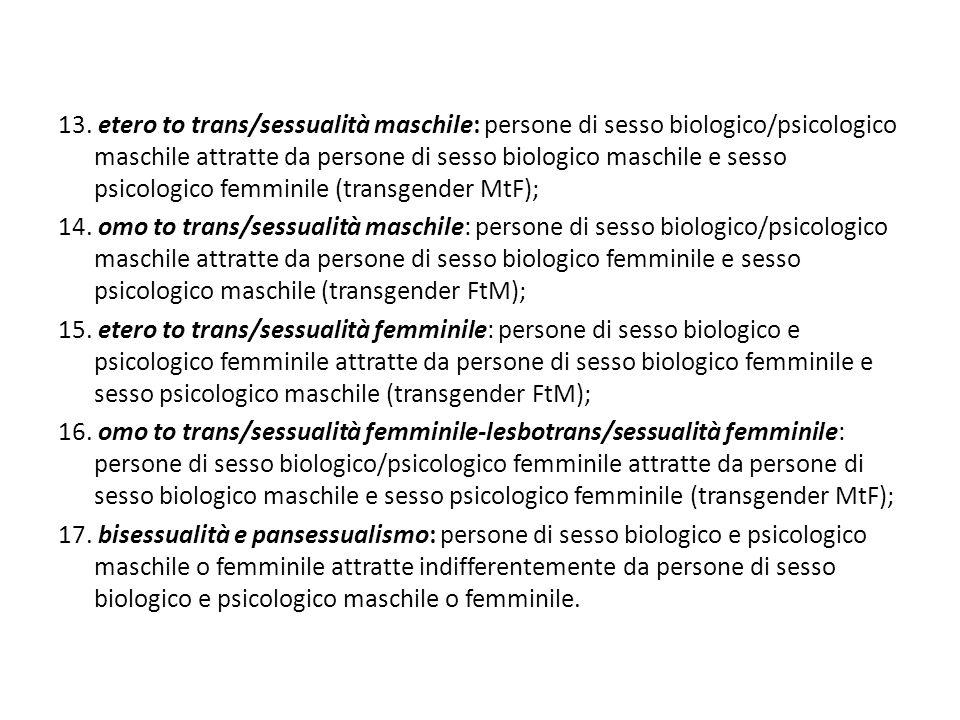 13. etero to trans/sessualità maschile: persone di sesso biologico/psicologico maschile attratte da persone di sesso biologico maschile e sesso psicol