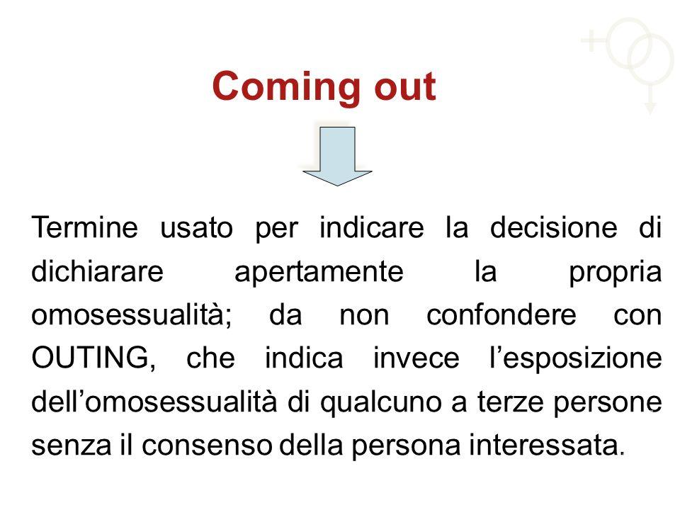 Coming out Termine usato per indicare la decisione di dichiarare apertamente la propria omosessualità; da non confondere con OUTING, che indica invece