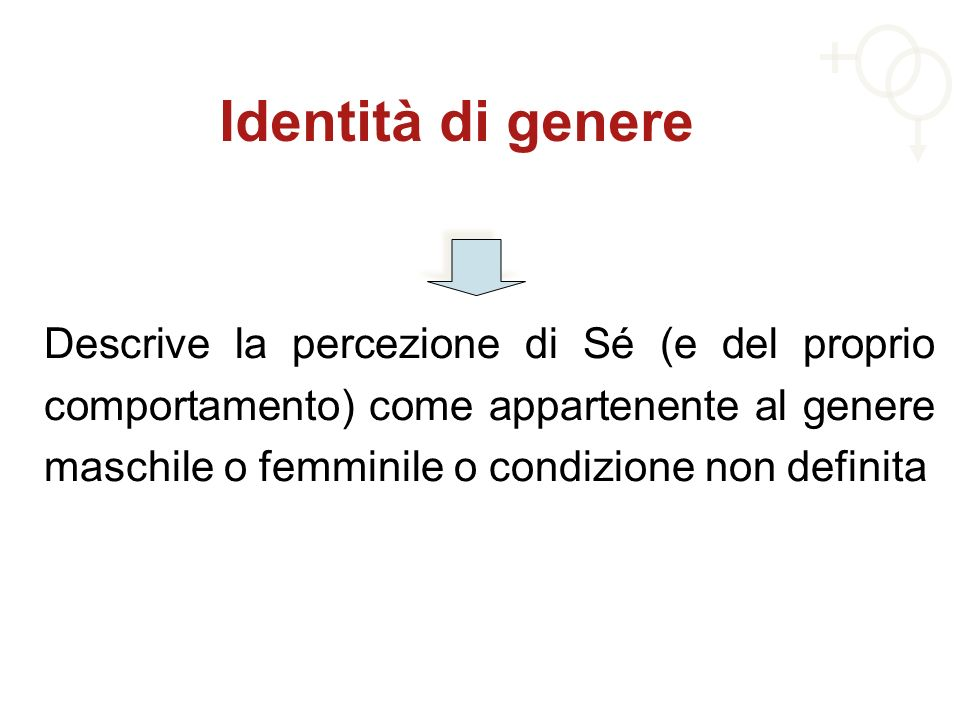 Identità di genere Descrive la percezione di Sé (e del proprio comportamento) come appartenente al genere maschile o femminile o condizione non defini