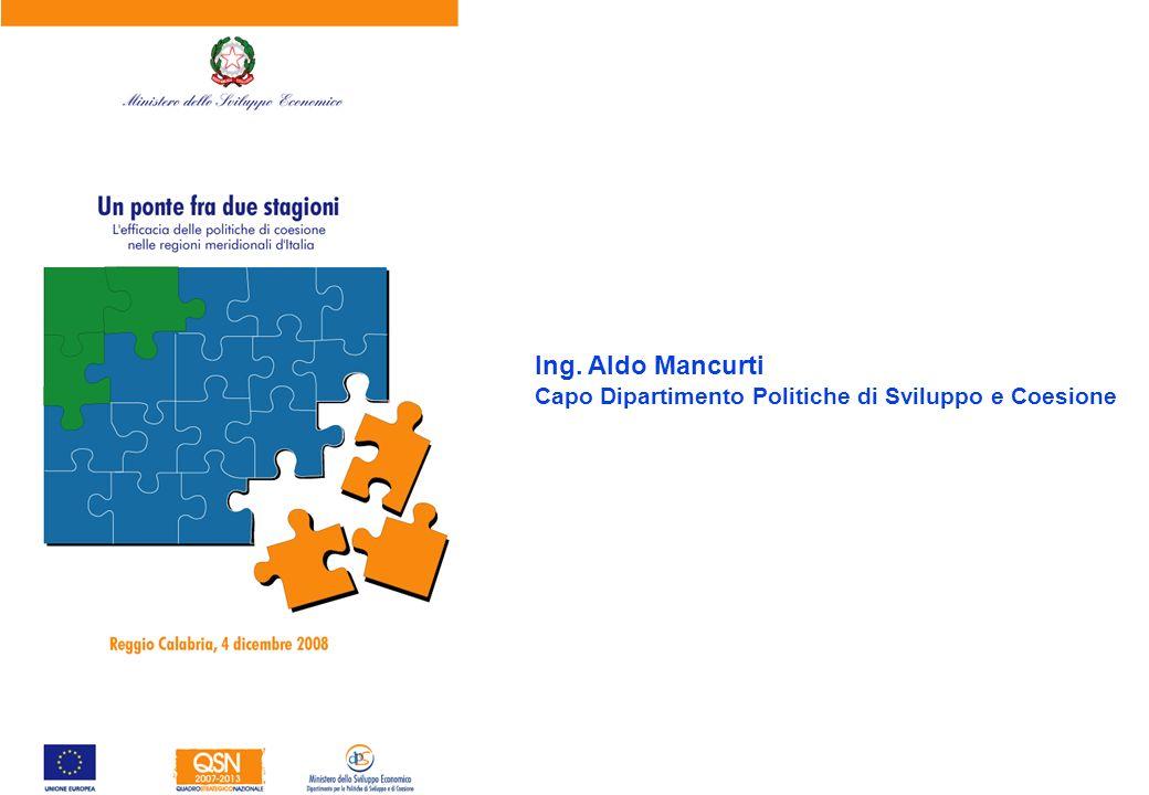 Ing. Aldo Mancurti Capo Dipartimento Politiche di Sviluppo e Coesione