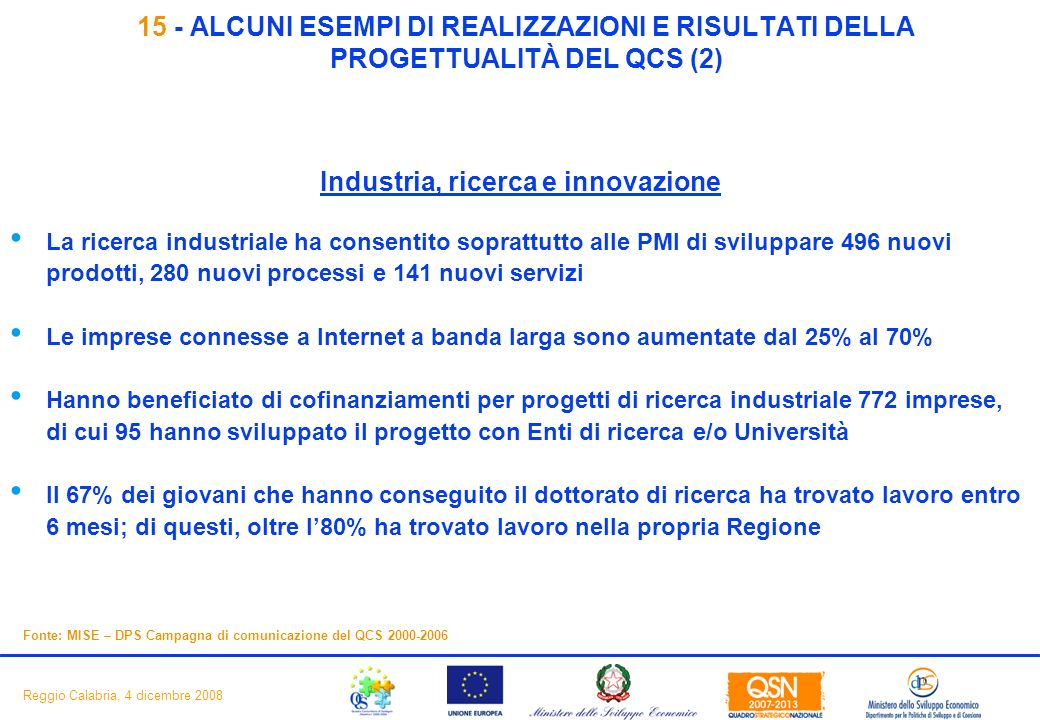 17 Reggio Calabria, 4 dicembre 2008 15 - ALCUNI ESEMPI DI REALIZZAZIONI E RISULTATI DELLA PROGETTUALITÀ DEL QCS (2) Industria, ricerca e innovazione La ricerca industriale ha consentito soprattutto alle PMI di sviluppare 496 nuovi prodotti, 280 nuovi processi e 141 nuovi servizi Le imprese connesse a Internet a banda larga sono aumentate dal 25% al 70% Hanno beneficiato di cofinanziamenti per progetti di ricerca industriale 772 imprese, di cui 95 hanno sviluppato il progetto con Enti di ricerca e/o Università Il 67% dei giovani che hanno conseguito il dottorato di ricerca ha trovato lavoro entro 6 mesi; di questi, oltre l80% ha trovato lavoro nella propria Regione Fonte: MISE – DPS Campagna di comunicazione del QCS 2000-2006