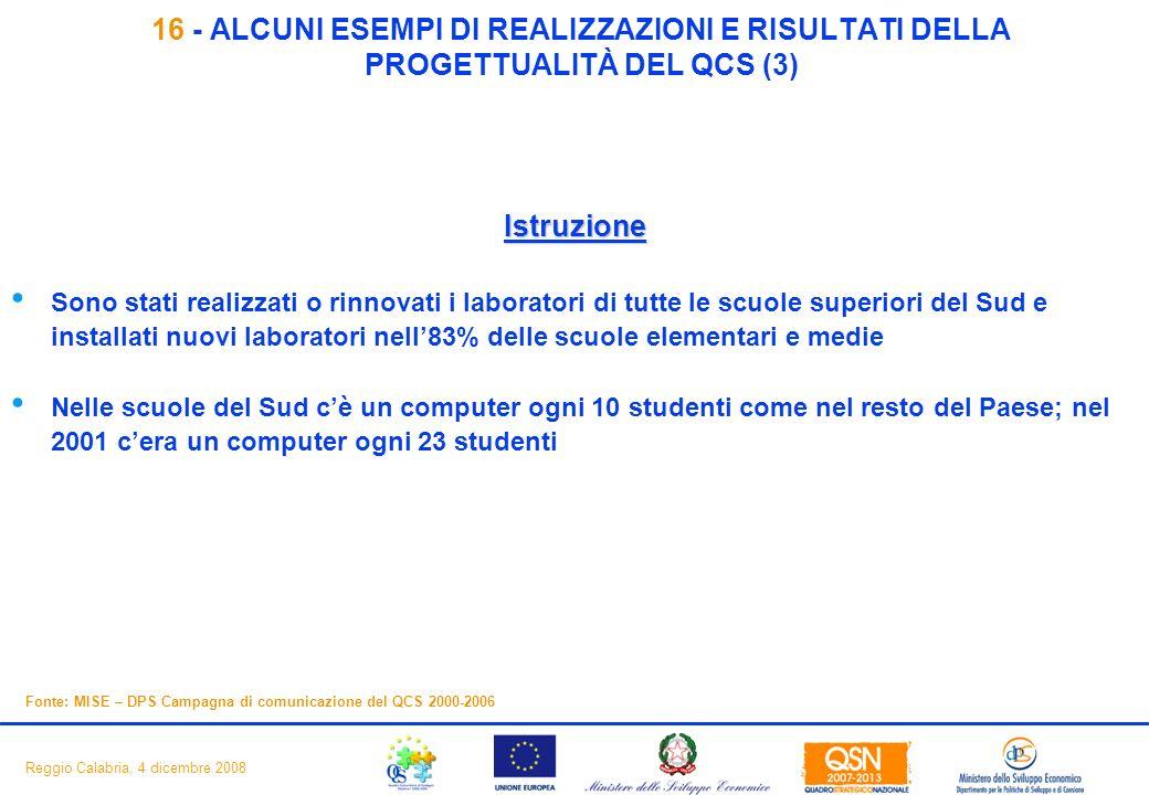 18 Reggio Calabria, 4 dicembre 2008 16 - ALCUNI ESEMPI DI REALIZZAZIONI E RISULTATI DELLA PROGETTUALITÀ DEL QCS (3) Istruzione Sono stati realizzati o