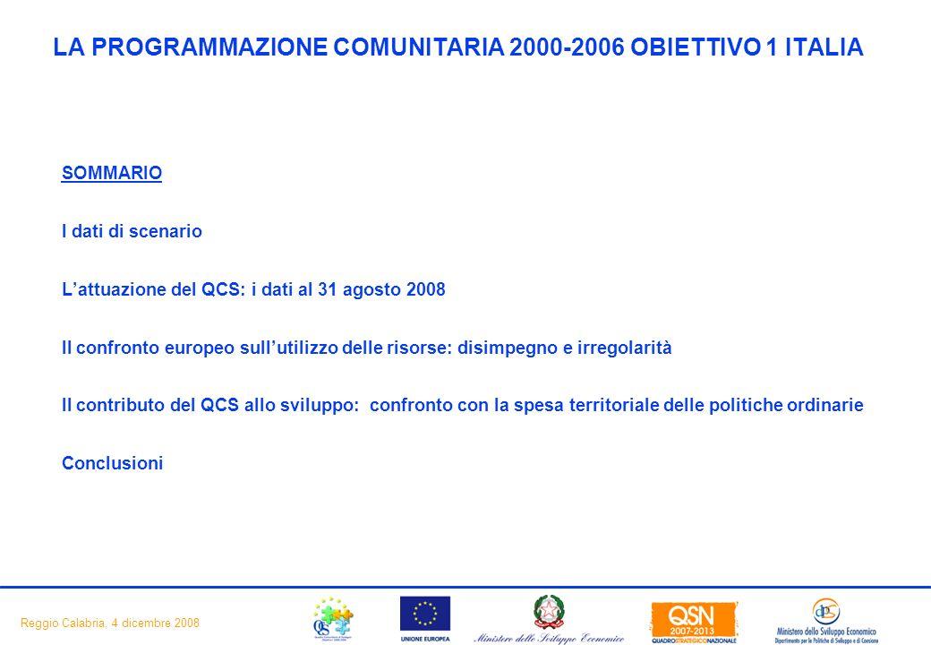 2 Reggio Calabria, 4 dicembre 2008 LA PROGRAMMAZIONE COMUNITARIA 2000-2006 OBIETTIVO 1 ITALIA SOMMARIO I dati di scenario Lattuazione del QCS: i dati