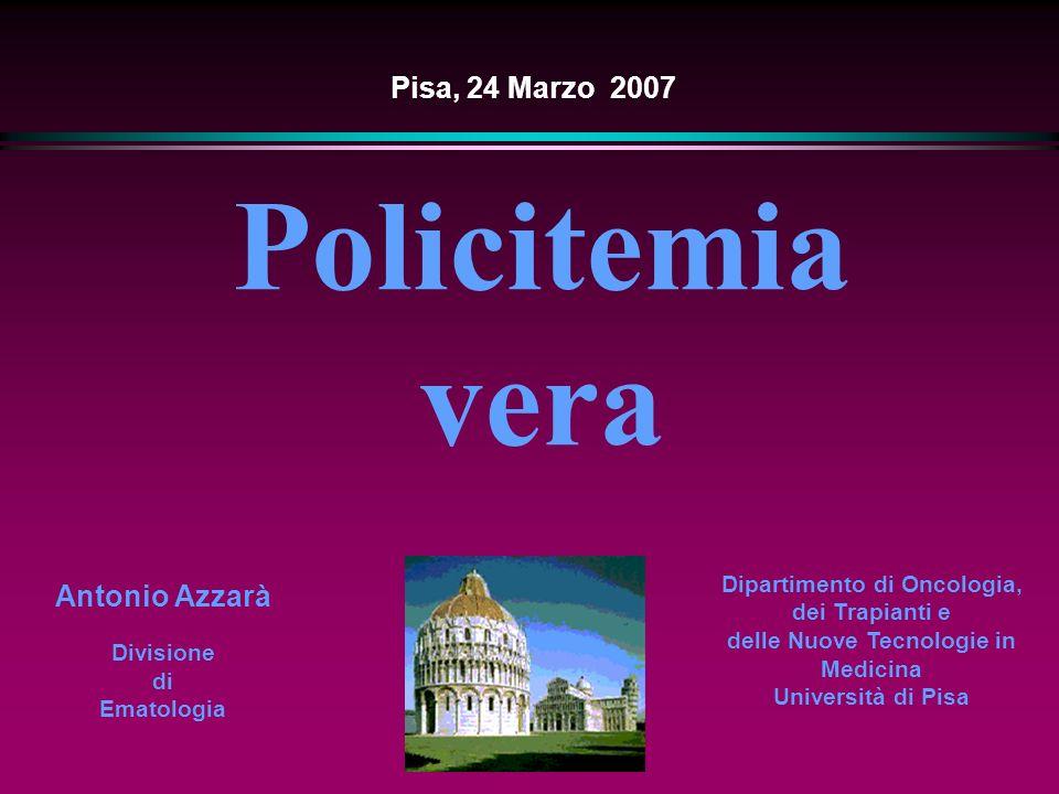 Malattie mieloproliferative croniche ( WHO) Policitemia vera - Leucemia mieloide cronica - Leucemia cronica neutrofilica - Leucemia cronica eosinofilica - Sindrome ipereosinofilica - Sindromi mieloproliferative croniche (S.M.C.) Ph- - Malattie mieloproliferative croniche non classificabili Antonio Azzarà, Pontedera, Marzo 2007