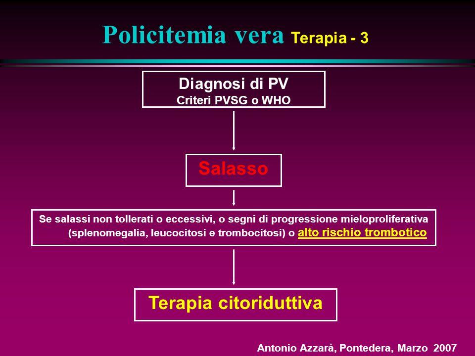 Salasso Policitemia vera Terapia - 3 Diagnosi di PV Criteri PVSG o WHO Se salassi non tollerati o eccessivi, o segni di progressione mieloproliferativa (splenomegalia, leucocitosi e trombocitosi) o alto rischio trombotico Terapia citoriduttiva Antonio Azzarà, Pontedera, Marzo 2007