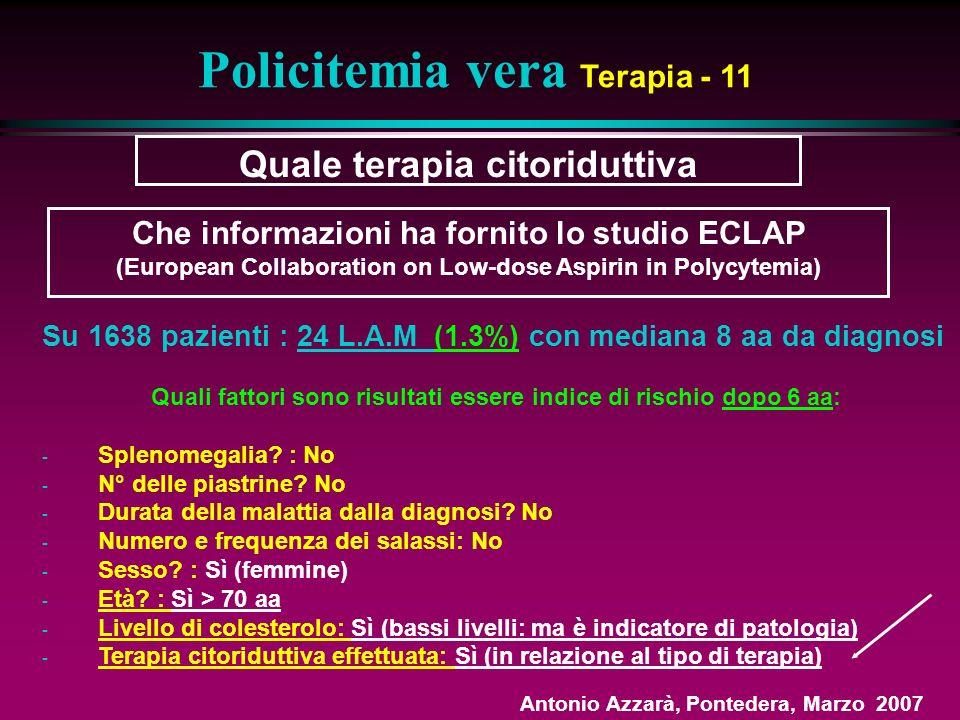 Quale terapia citoriduttiva Policitemia vera Terapia - 11 Su 1638 pazienti : 24 L.A.M (1.3%) con mediana 8 aa da diagnosi Quali fattori sono risultati essere indice di rischio dopo 6 aa: - Splenomegalia.