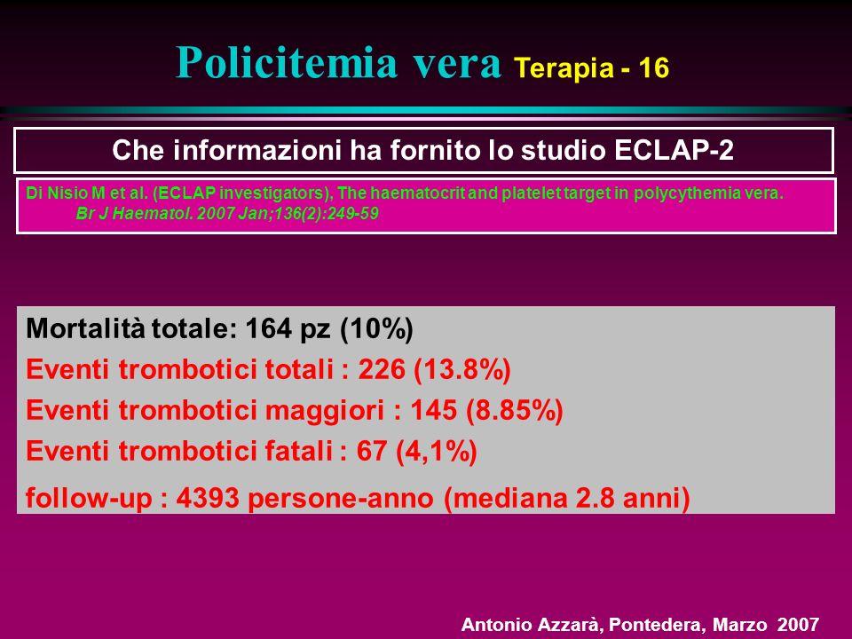 Policitemia vera Terapia - 16 Che informazioni ha fornito lo studio ECLAP-2 Mortalità totale: 164 pz (10%) Eventi trombotici totali : 226 (13.8%) Eventi trombotici maggiori : 145 (8.85%) Eventi trombotici fatali : 67 (4,1%) follow-up : 4393 persone-anno (mediana 2.8 anni) Di Nisio M et al.