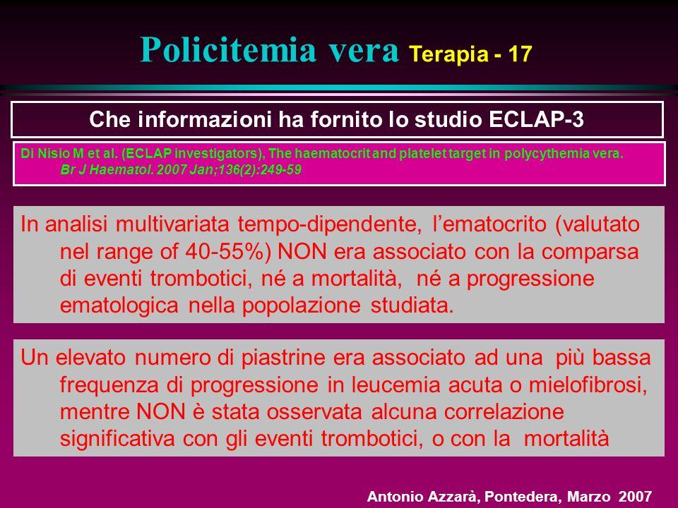 Policitemia vera Terapia - 17 Che informazioni ha fornito lo studio ECLAP-3 In analisi multivariata tempo-dipendente, lematocrito (valutato nel range of 40-55%) NON era associato con la comparsa di eventi trombotici, né a mortalità, né a progressione ematologica nella popolazione studiata.