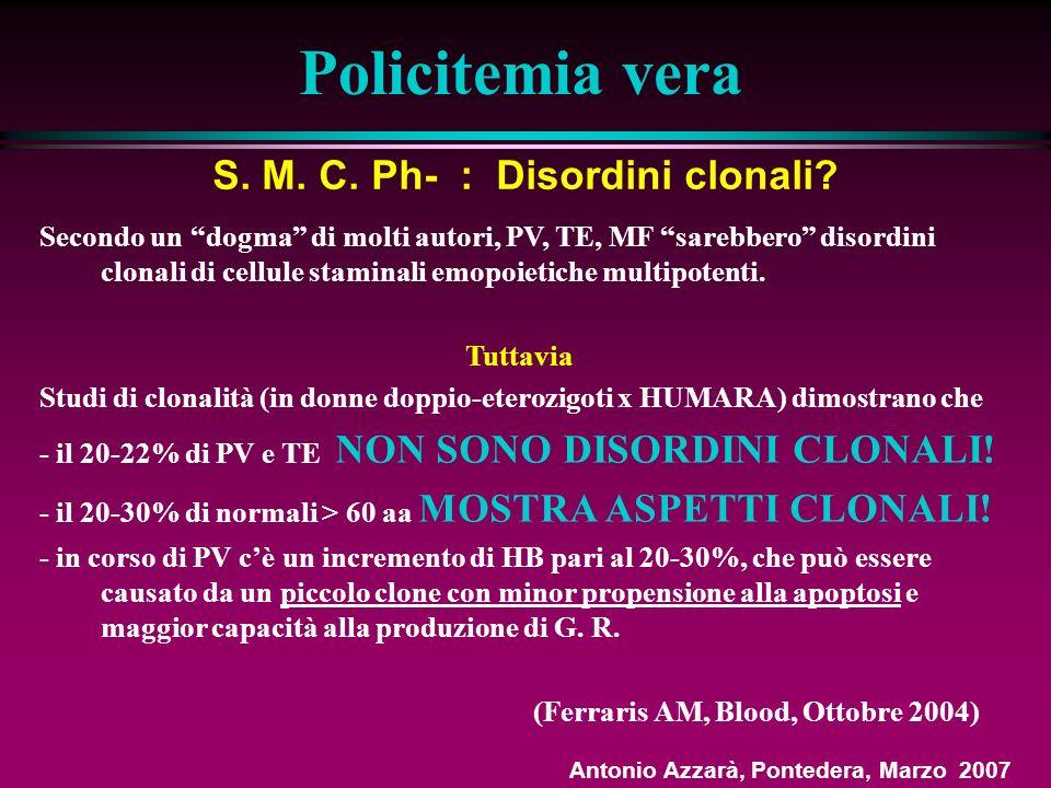 Policitemia vera Epidemiologia - INCIDENZA: In Europa e in USA: 2,3 per 100.000 per anno - ETA MEDIA: 60 aa - SESSO: Lieve prevalenza nei maschi rispetto alle femmine (1,2:1) Sintomatologia - Prurito generalizzato (dopo bagno caldo) 46% - Episodi trombotici inusuali (vena porta, syndrome di Budd-Chiari ecc.) 10% - Eritromelalgia (acrocianosi,, eritema) 3% - Cefalea occ.