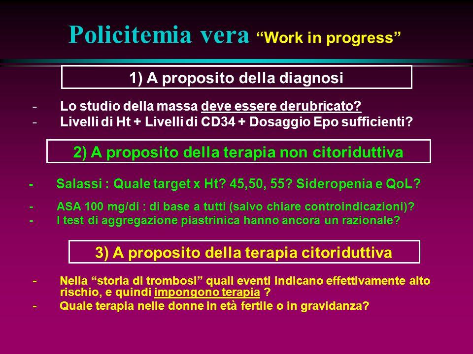 Policitemia vera Work in progress - ASA 100 mg/di : di base a tutti (salvo chiare controindicazioni).