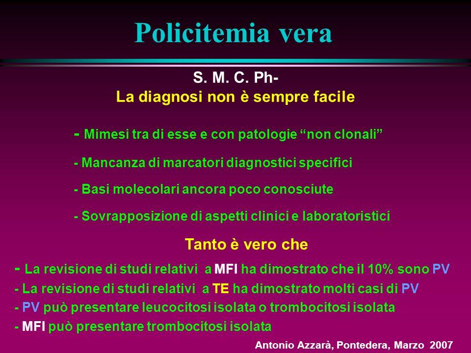 Policitemia vera Criteri diagnostici - 1 Maggiori - Massa eritrocitaria aumentata ( > 36 ml/Kg uomini, > 32 ml/Kg donne) - Normale saturazione dossigeno arteriosa (> 92%) - Splenomegalia Minori - Leucocitosi > 12 x 10 9 /l - Trombocitosi > 400 x 10 9 /l - Indice di F.A.L > 100 - Valori di Vit B 12 > 900 pg/ml e di unsatured B 12 – binding capacity > 2200 pg/ml Diagnosi se 3 maggiori o, se non splenomegalia, 2 maggiori + 2 minori Policythemia Vera Study Group (Br J Haematol, 1971; Semin Hematol, 1986; Clin Haematol, 1998) Antonio Azzarà, Pontedera, Marzo 2007