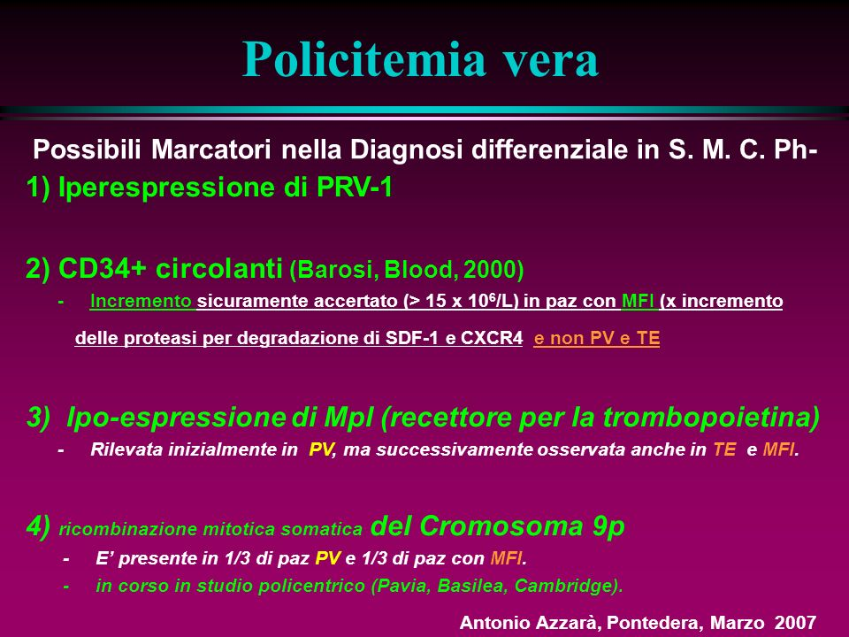 LMC?: escludibile: (Ph-), assenza di forme immature (ma considerare le rare forme di LMC a neutrofili maturi o LMC Ph-) MIF?: escludibile: assenza di fibrosi, splenomegalia, forme immature, dacriociti, eritroblasti PV?: No per Hb e Ht NEI LIMITI DELLA NORMA (ma Massa Eritrocitaria non eseguita, Epo non dosata) (PV mascherata da sideropenia?) ; No per assenza di splenomegalia.
