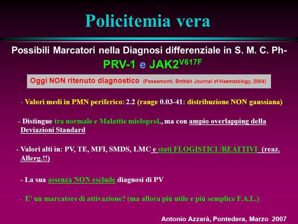 JAK2V 617F detection and dosage of serum erythropoietin: first steps of the diagnostic work-up for patients consulting for elevated hematocrit François Girodon, Eric Lippert, Pascal Mossuz, Irène Dobo, Nathalie Boiret-Dupré, Jean-François Lesesve, Sylvie Hermouet, Vincent Praloran, Haematologica Marzo 2007; 92(03) 431-2 In 186 pz (con Ht >50 (m) e >48(f): applicati criteri diagnostici secondo PVSG, PVSG modif., WHO e correlati con JAK2V 617F e livelli di Epo: 1.