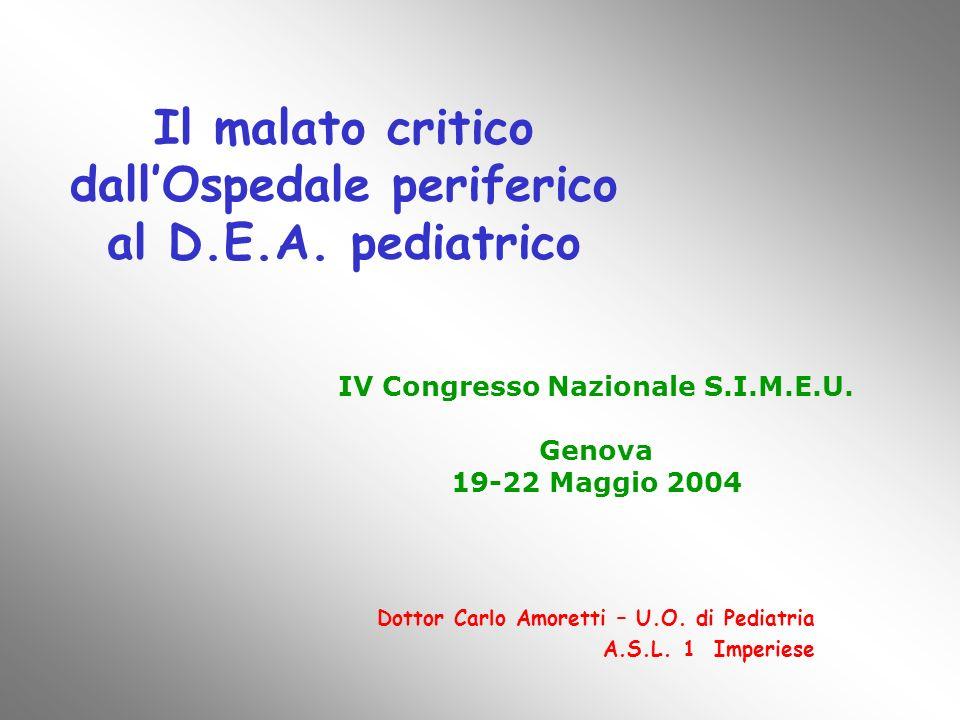 Il malato critico dallOspedale periferico al D.E.A. pediatrico Dottor Carlo Amoretti – U.O. di Pediatria A.S.L. 1 Imperiese IV Congresso Nazionale S.I