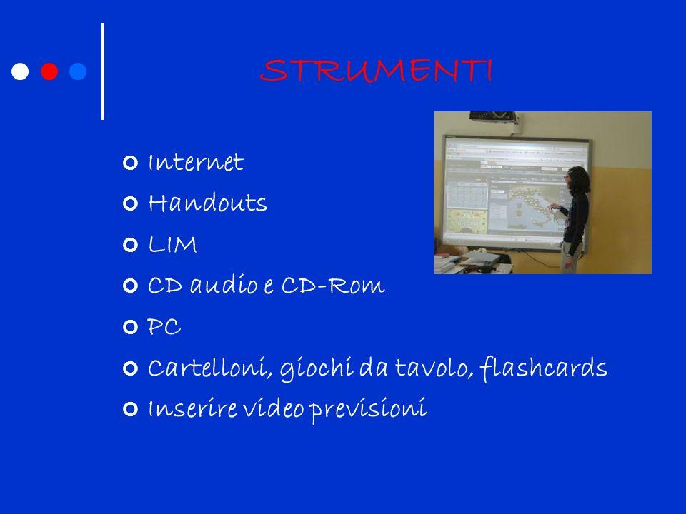 STRUMENTI Internet Handouts LIM CD audio e CD-Rom PC Cartelloni, giochi da tavolo, flashcards Inserire video previsioni