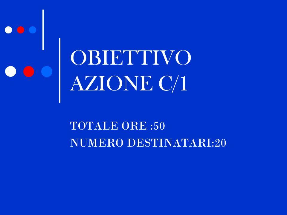 OBIETTIVO AZIONE C/1 TOTALE ORE :50 NUMERO DESTINATARI:20