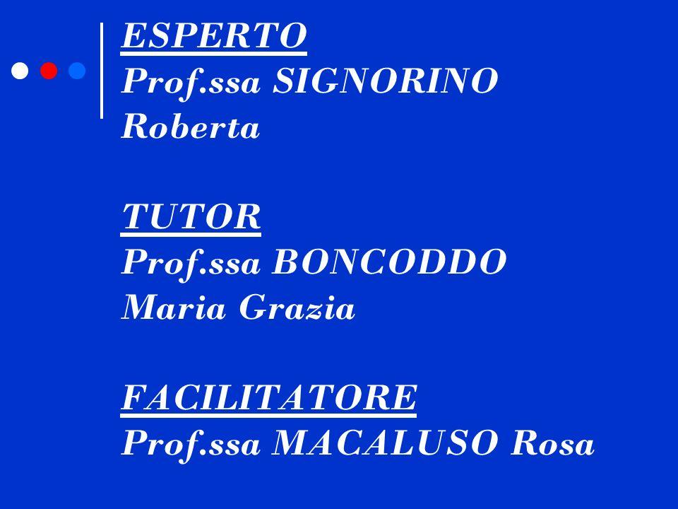 ESPERTO Prof.ssa SIGNORINO Roberta TUTOR Prof.ssa BONCODDO Maria Grazia FACILITATORE Prof.ssa MACALUSO Rosa