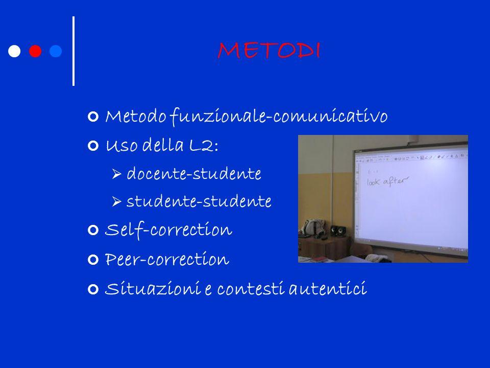 METODI Metodo funzionale-comunicativo Uso della L2: docente-studente studente-studente Self-correction Peer-correction Situazioni e contesti autentici