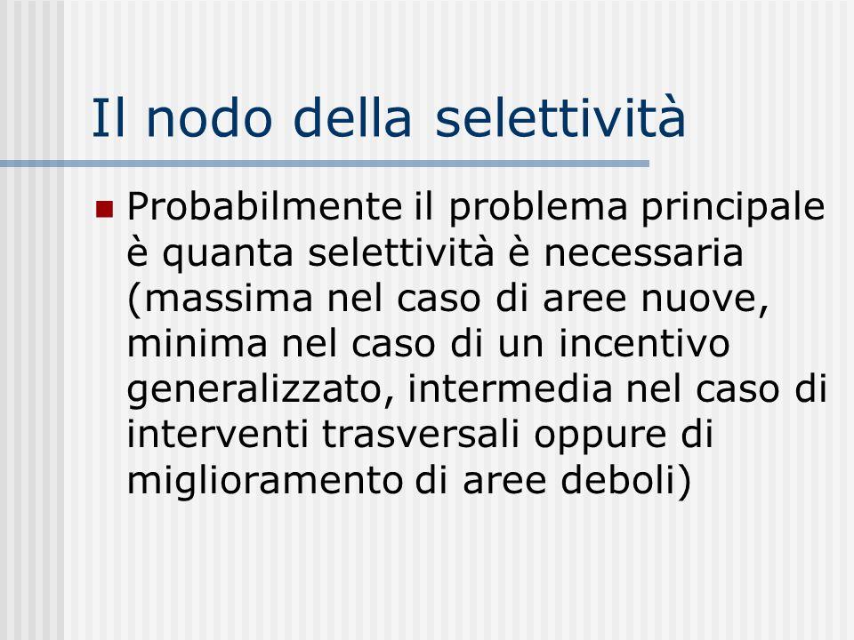Il nodo della selettività Probabilmente il problema principale è quanta selettività è necessaria (massima nel caso di aree nuove, minima nel caso di un incentivo generalizzato, intermedia nel caso di interventi trasversali oppure di miglioramento di aree deboli)