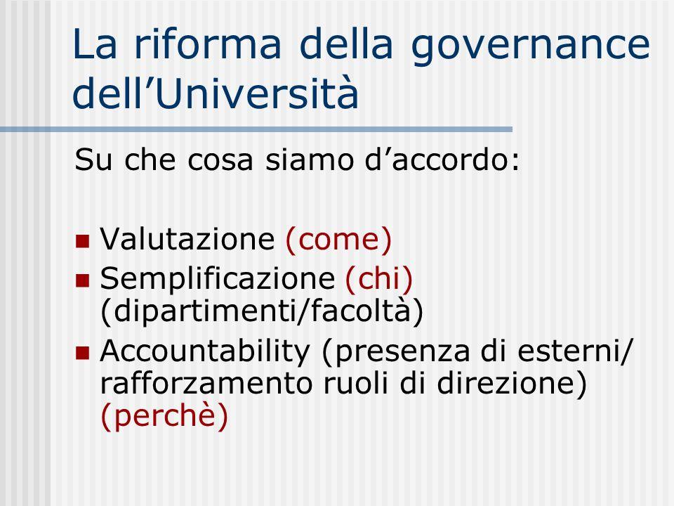 La riforma della governance dellUniversità Su che cosa siamo daccordo: Valutazione (come) Semplificazione (chi) (dipartimenti/facoltà) Accountability (presenza di esterni/ rafforzamento ruoli di direzione) (perchè)