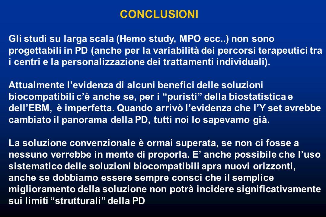 CONCLUSIONI Gli studi su larga scala (Hemo study, MPO ecc..) non sono progettabili in PD (anche per la variabilità dei percorsi terapeutici tra i cent