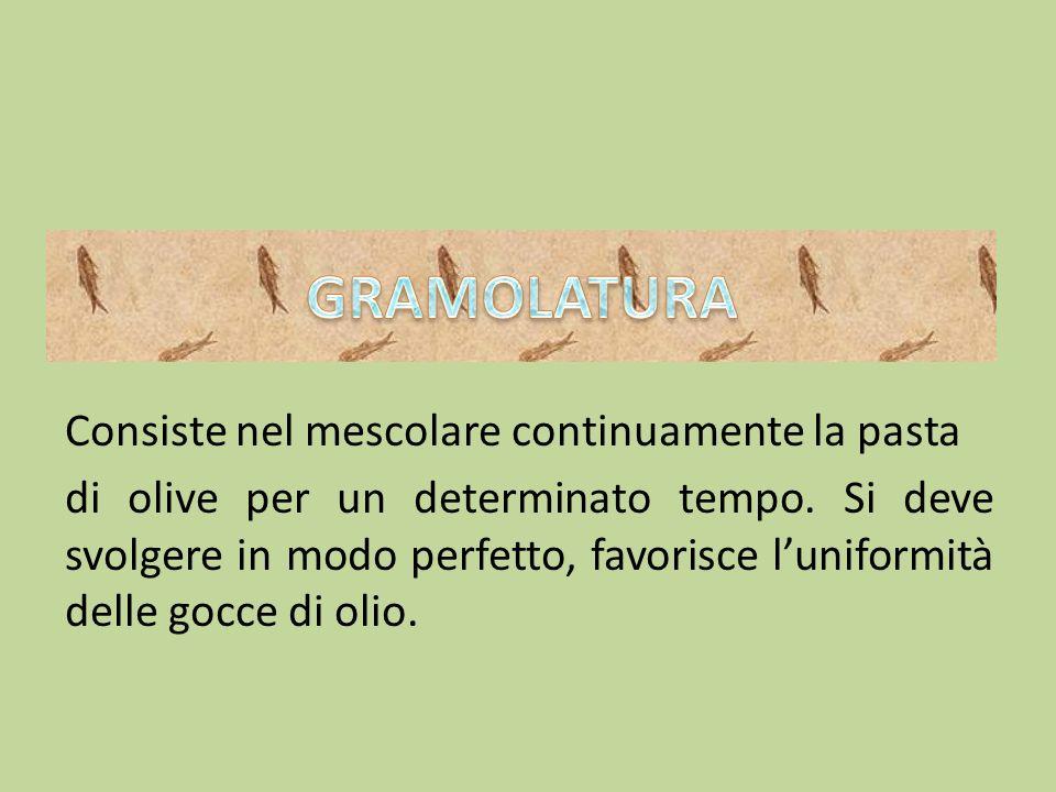 Consiste nel mescolare continuamente la pasta di olive per un determinato tempo. Si deve svolgere in modo perfetto, favorisce luniformità delle gocce