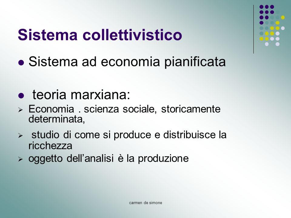 carmen de simone Sistema collettivistico Sistema ad economia pianificata teoria marxiana: Economia. scienza sociale, storicamente determinata, studio
