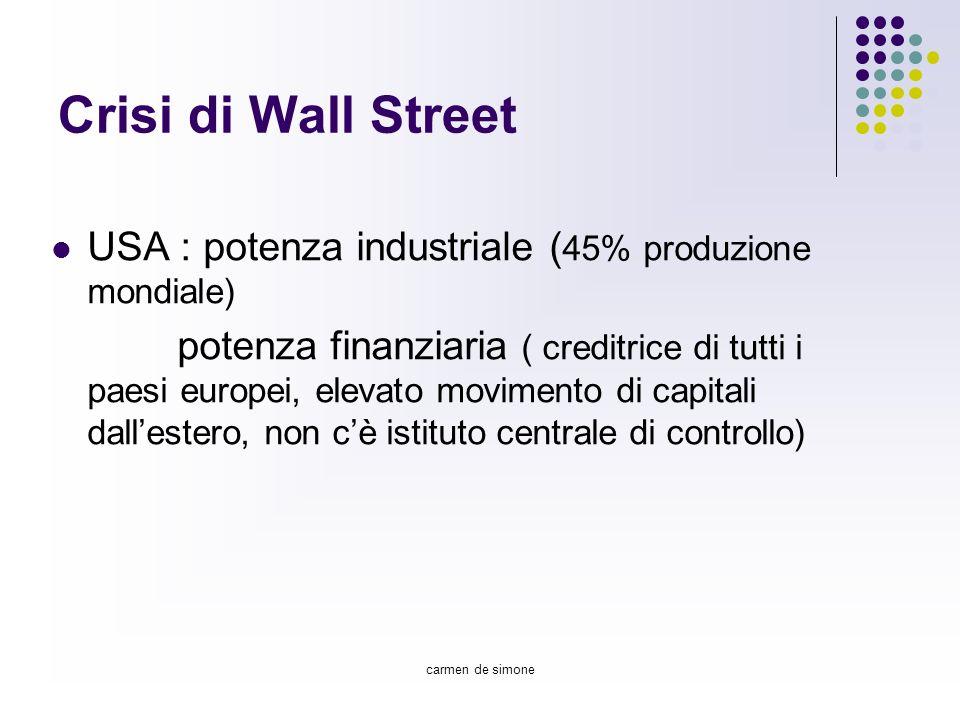 carmen de simone Crisi di Wall Street USA : potenza industriale ( 45% produzione mondiale) potenza finanziaria ( creditrice di tutti i paesi europei,