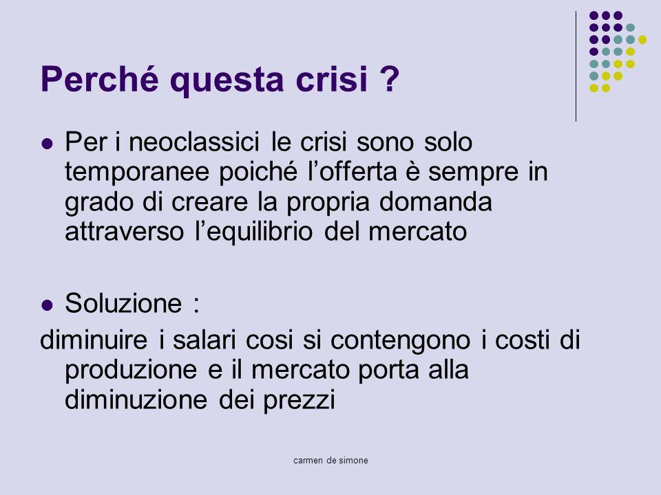 carmen de simone Perché questa crisi ? Per i neoclassici le crisi sono solo temporanee poiché lofferta è sempre in grado di creare la propria domanda