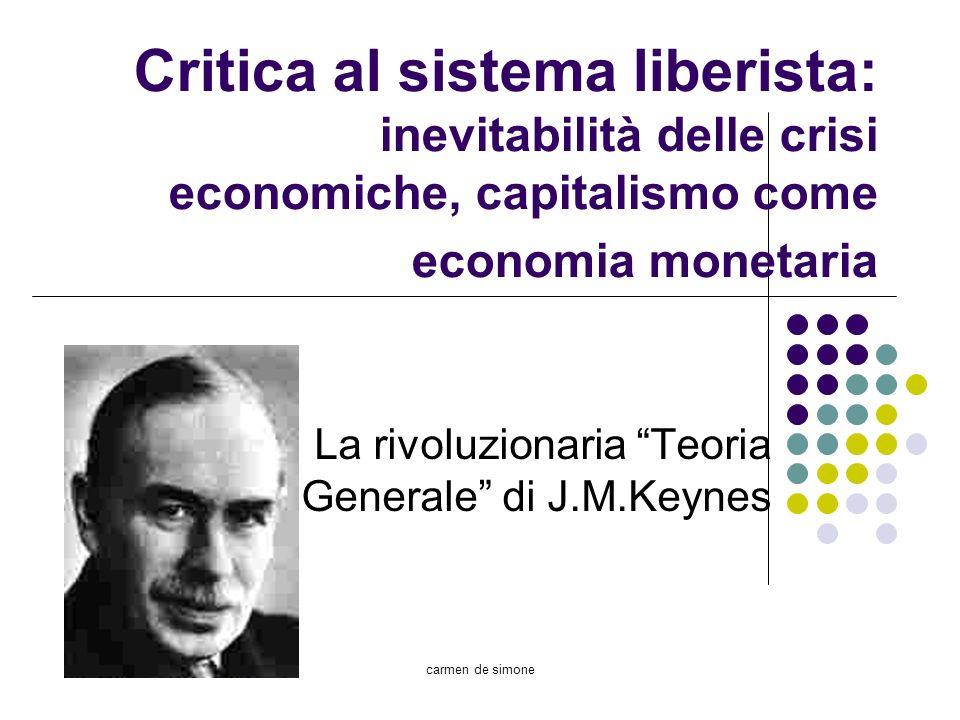 carmen de simone Critica al sistema liberista: inevitabilità delle crisi economiche, capitalismo come economia monetaria La rivoluzionaria Teoria Gene