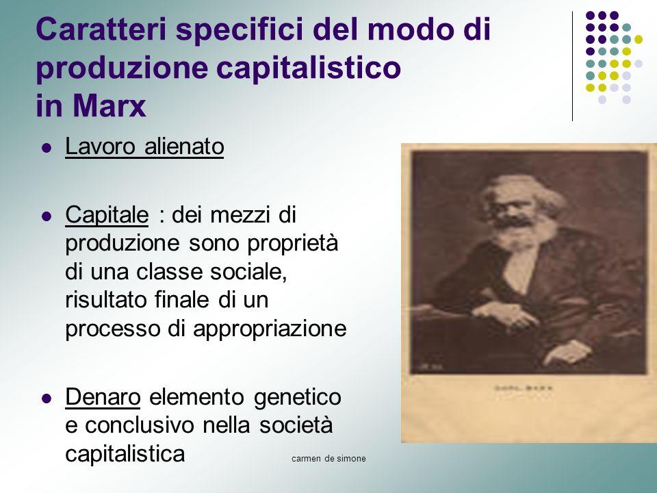 carmen de simone Caratteri specifici del modo di produzione capitalistico in Marx Lavoro alienato Capitale : dei mezzi di produzione sono proprietà di