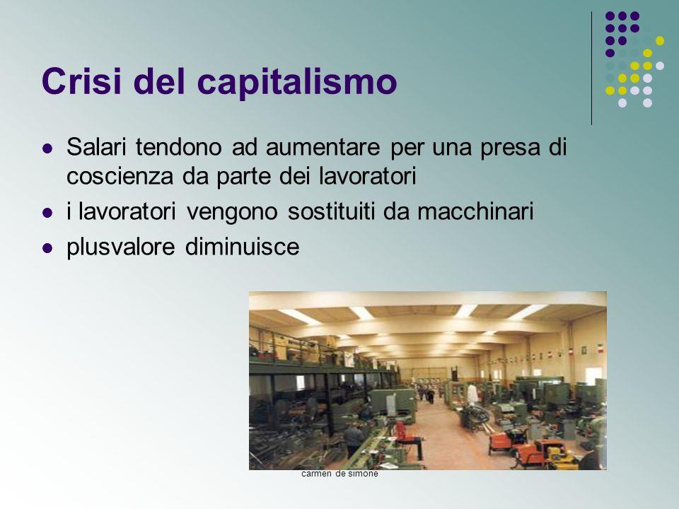 carmen de simone Crisi del capitalismo Salari tendono ad aumentare per una presa di coscienza da parte dei lavoratori i lavoratori vengono sostituiti