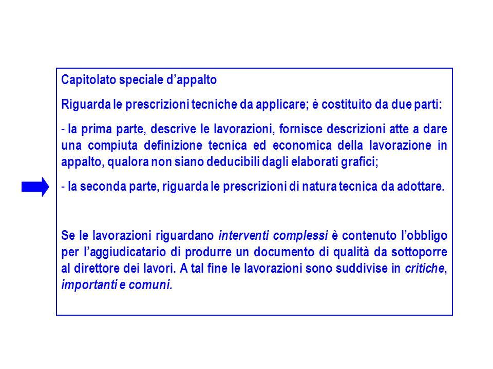 Capitolato speciale dappalto Riguarda le prescrizioni tecniche da applicare; è costituito da due parti: - la prima parte, descrive le lavorazioni, for