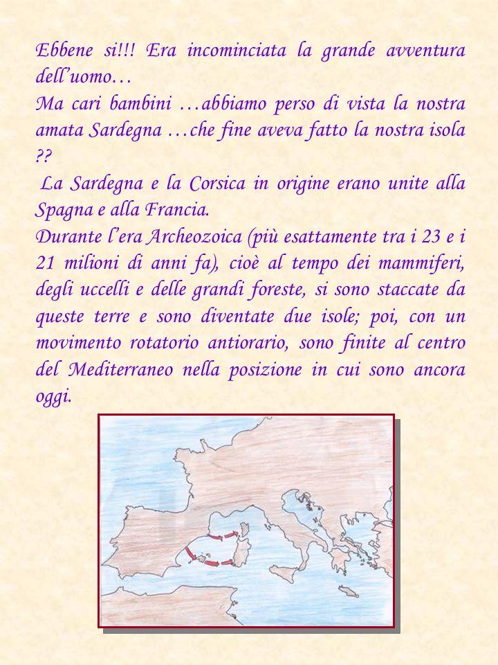 Ebbene si!!! Era incominciata la grande avventura delluomo… Ma cari bambini …abbiamo perso di vista la nostra amata Sardegna …che fine aveva fatto la