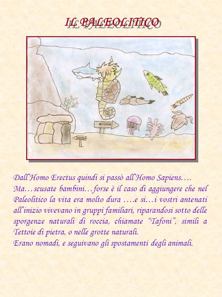 IL PALEOLITICO DallHomo Erectus quindi si passò allHomo Sapiens…. Ma…scusate bambini…forse è il caso di aggiungere che nel Paleolitico la vita era mol