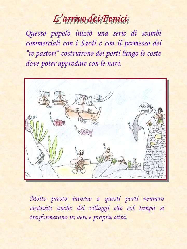 Questo popolo iniziò una serie di scambi commerciali con i Sardi e con il permesso dei re pastori costruirono dei porti lungo le coste dove poter appr