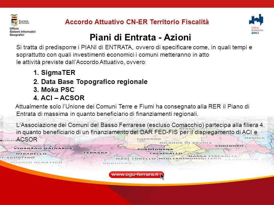 Accordo Attuativo CN-ER Territorio Fiscalità Quadri economici Sigma Ter - ACI e ACSOR con esclusione dei connettori : Tabella confronto preventivi (All.1) Sigmater (All.2) Dispiegamento ACI e ACSOR (All.