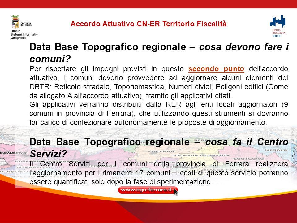 Accordo Attuativo CN-ER Territorio Fiscalità Data Base Topografico regionale – cosa devono fare i comuni.