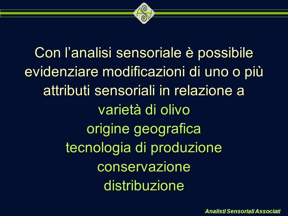 Analisti Sensoriali Associati Con lanalisi sensoriale è possibile evidenziare modificazioni di uno o più attributi sensoriali in relazione a varietà d