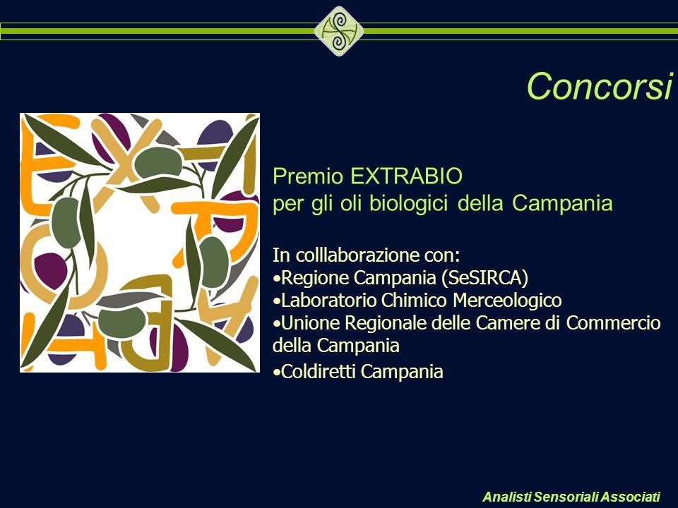 Concorsi Premio EXTRABIO per gli oli biologici della Campania In colllaborazione con: Regione Campania (SeSIRCA) Laboratorio Chimico Merceologico Unio