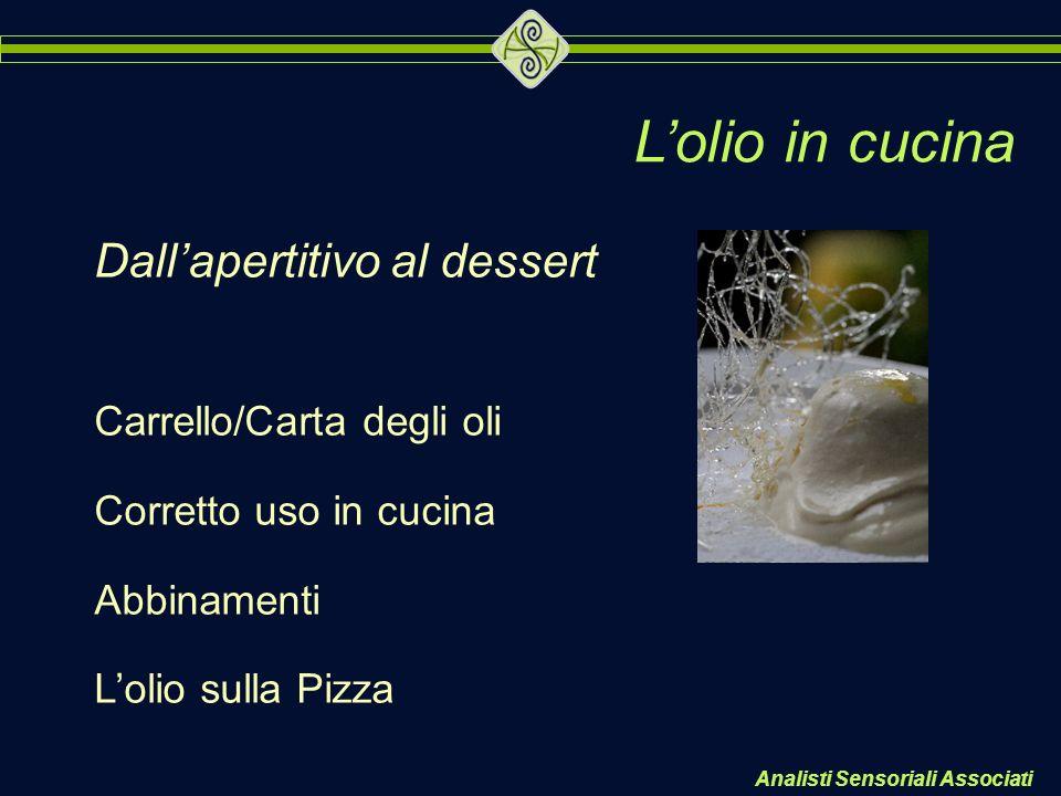 Lolio in cucina Dallapertitivo al dessert Carrello/Carta degli oli Corretto uso in cucina Abbinamenti Lolio sulla Pizza