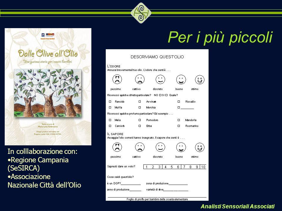 Analisti Sensoriali Associati Per i più piccoli In colllaborazione con: Regione Campania (SeSIRCA) Associazione Nazionale Città dellOlio