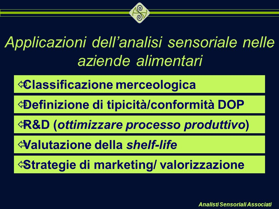 Analisti Sensoriali Associati Applicazioni dellanalisi sensoriale nelle aziende alimentari ïClassificazione merceologica ïDefinizione di tipicità/conf