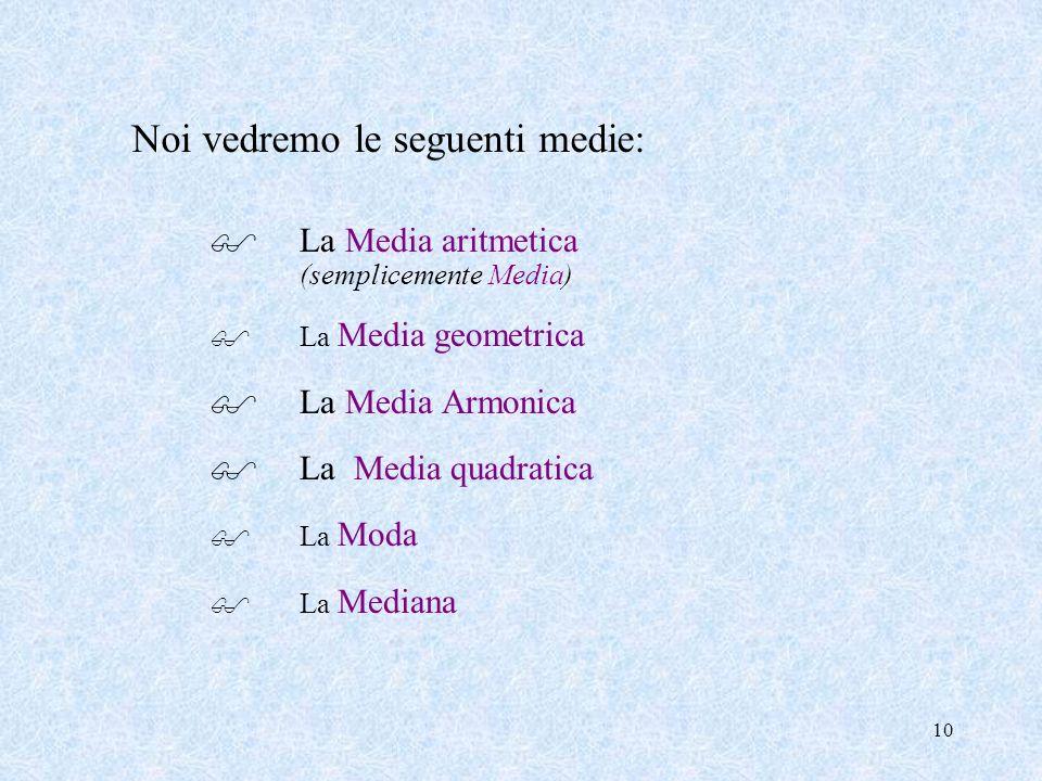 9 Quali di queste è la Media più giusta? Non esiste la media migliore, ma la media da utilizzare deve essere scelta in relazione al problema che si st