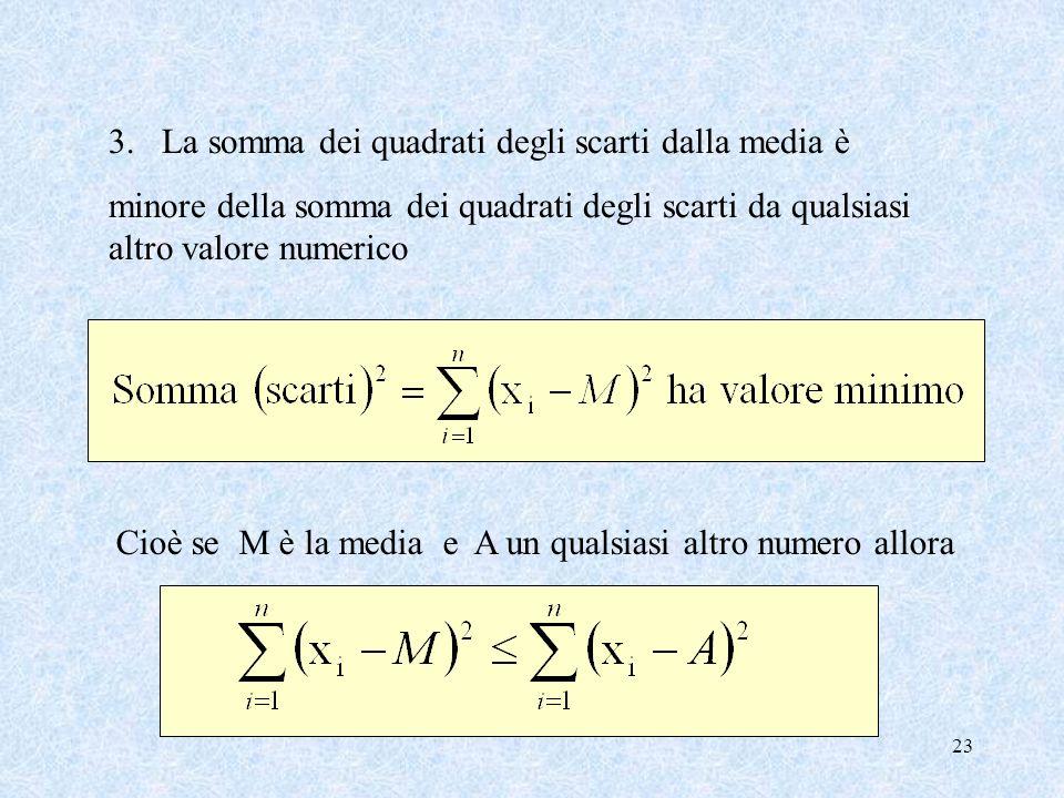 22 Proprietà della media aritmetica 1. La media aritmetica è sempre compresa tra il valore minimo e il valore massimo x min media x max 2. La somma de