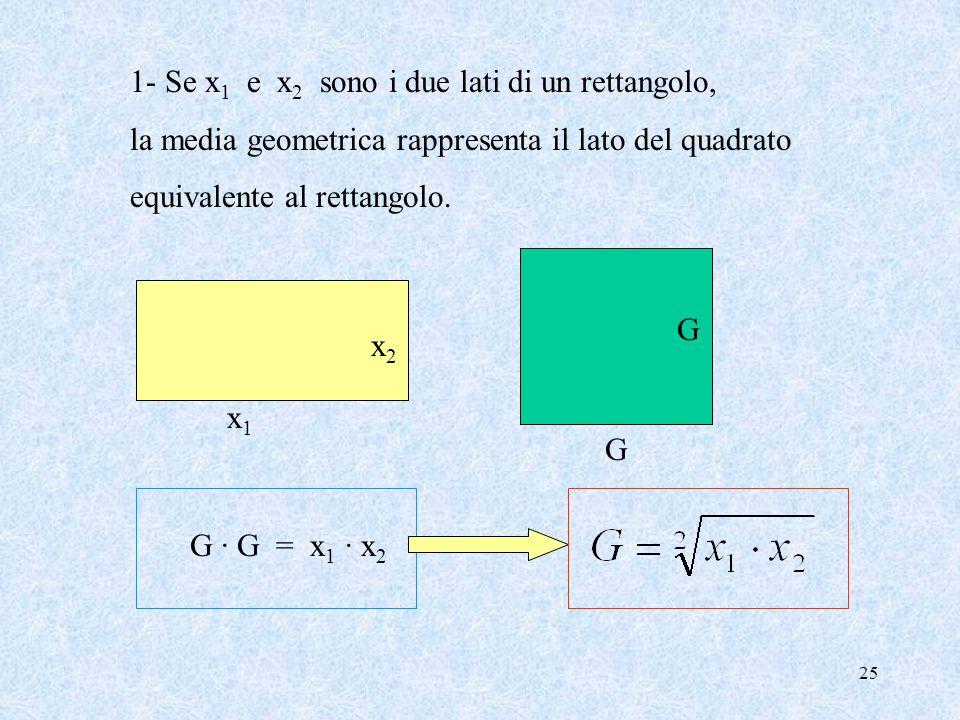 24 La Media Geometrica Def. Siano x 1, x 2, … x n gli n valori, tutti >0, assunti da una variabile numerica La media geometrica G di questi valori è: