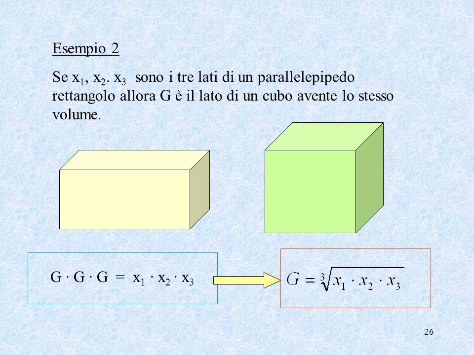 25 x1x1 x2x2 G G G · G = x 1 · x 2 1- Se x 1 e x 2 sono i due lati di un rettangolo, la media geometrica rappresenta il lato del quadrato equivalente
