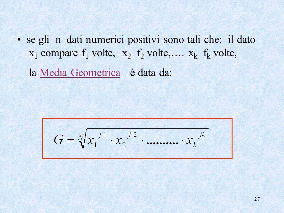 26 G · G · G = x 1 · x 2 · x 3 Esempio 2 Se x 1, x 2. x 3 sono i tre lati di un parallelepipedo rettangolo allora G è il lato di un cubo avente lo ste