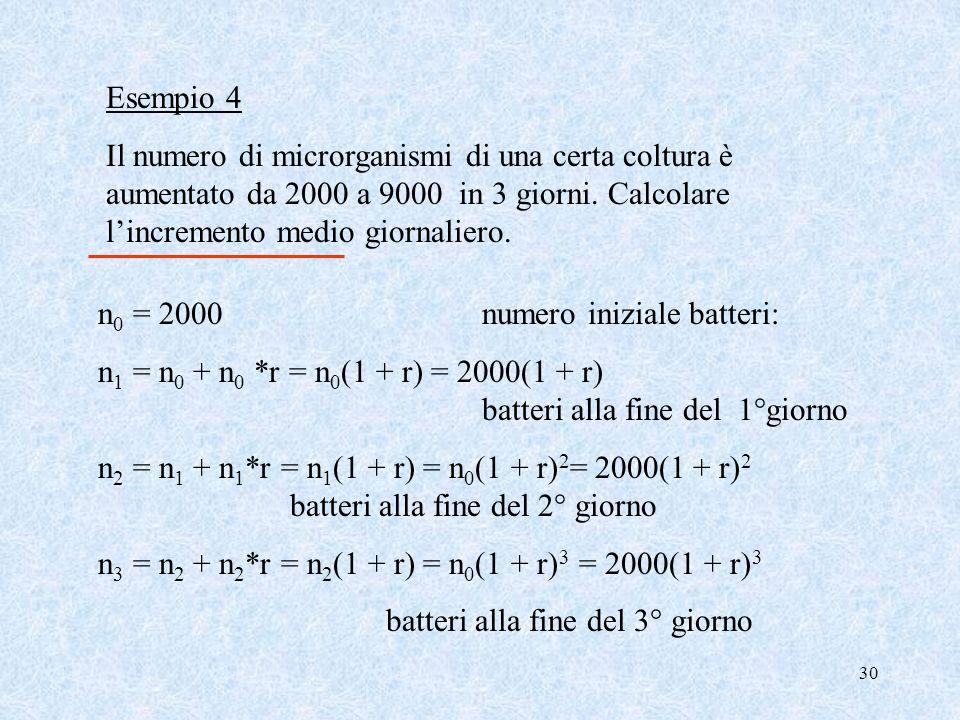 29 se indichiamo con r il tasso medio annuo costante deve risultare: Per cui da C 3 = C 0 (1 + r 1 )(1 + r 2 ) (1 + r 3 )= C 0 (1 + r) 3 C 3 = C 0 (1