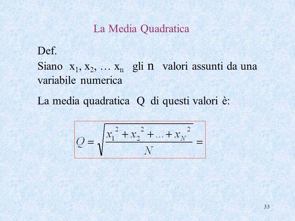 32 La Media Armonica Def. Siano x 1, x 2, … x n gli n valori, tutti >0, assunti da una variabile numerica La media armonica H di questi valori è: